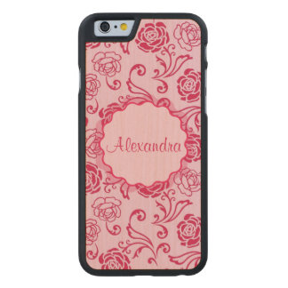 Floral lattice pattern of tea roses on pink name carved® maple iPhone 6 slim case