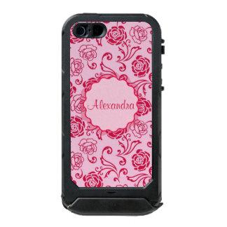 Floral lattice pattern of tea roses on pink name incipio ATLAS ID™ iPhone 5 case