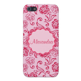Floral lattice pattern of tea roses on pink name iPhone 5/5S cover