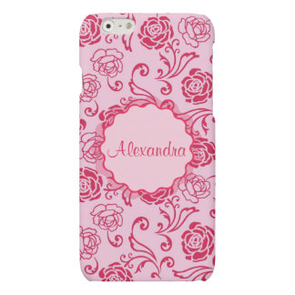 Floral lattice pattern of tea roses on pink name iPhone 6 plus case