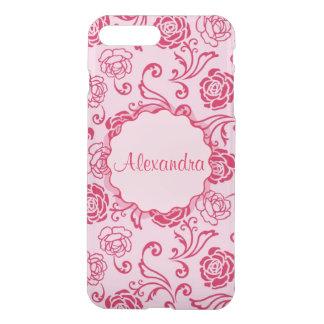 Floral lattice pattern of tea roses on pink name iPhone 8 plus/7 plus case