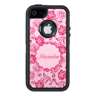 Floral lattice pattern of tea roses on pink name OtterBox defender iPhone case