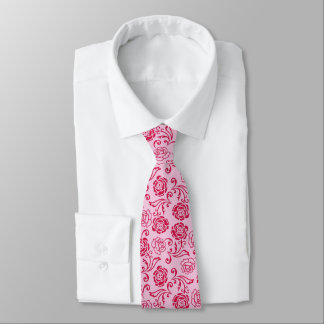 Floral lattice pattern of tea roses on pink tie