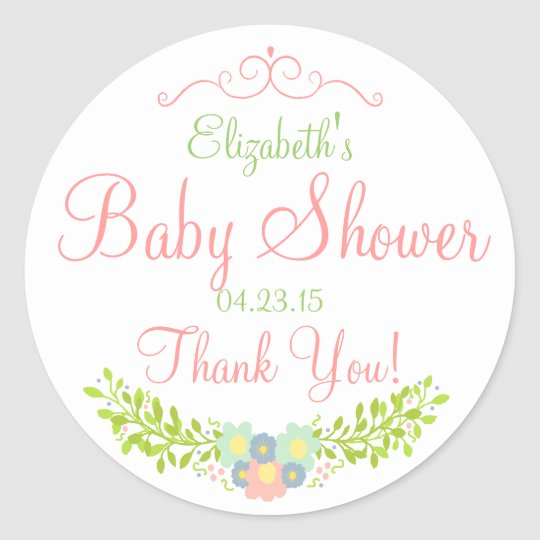 Floral Laurel Peach and Green Shower Classic Round