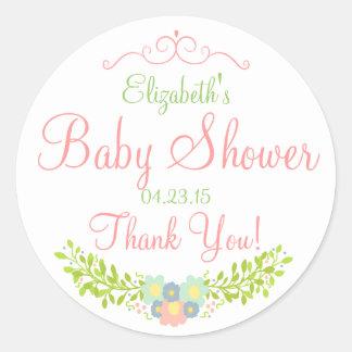 Floral Laurels-Baby Shower Sticker