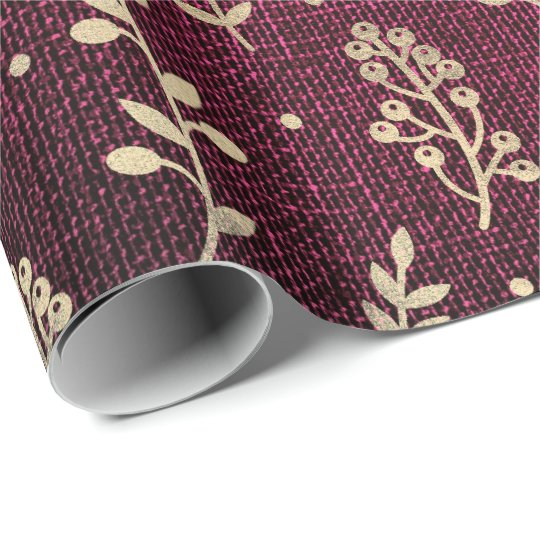 Floral Leafs Metallic Burgundy Red Gold Linen Wrapping