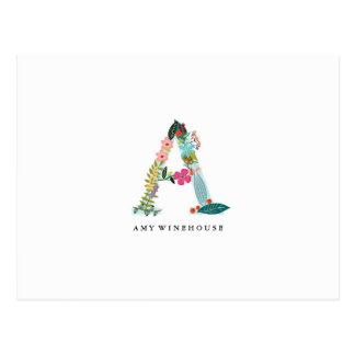 Floral Letter Monogram Initial - A - Flat Card Postcard