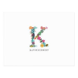 Floral Letter Monogram Initial - K - Flat Card Postcard