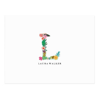 Floral Letter Monogram Initial - L - Flat Card Postcard