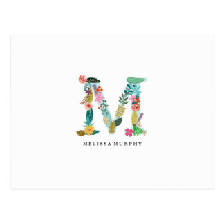 Floral Letter Monogram Initial - M - Flat Card Postcard