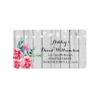 Floral Lights Return Print Wedding Address Label
