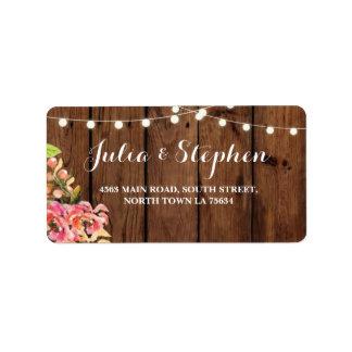 Floral Lights Wedding Return Address Label Wood