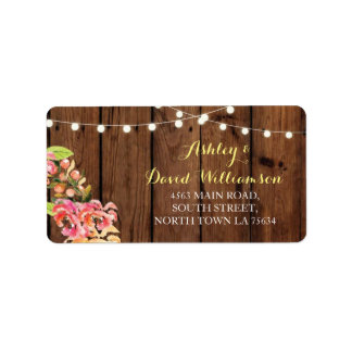 Floral Lights Wood Print Wedding Address Label