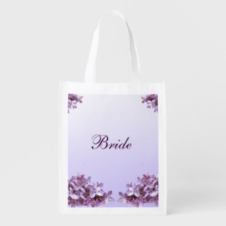 Floral Lilac Flowers Wedding Bridal Reusable Tote