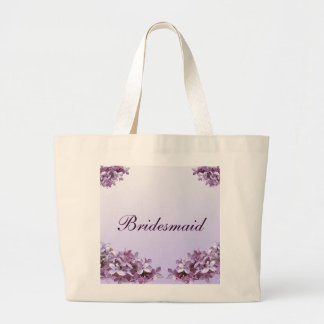 Floral Lilac Flowers Wedding Bridesmaid Large Tote Bag