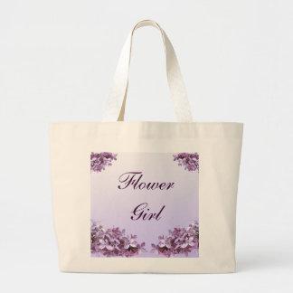 Floral Lilac Flowers Wedding Flower Girl Jumbo Tote Bag
