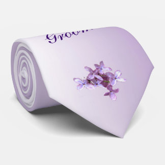 Floral Lilac Flowers Wedding Groom Tie