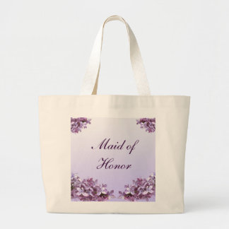 Floral Lilac Flowers Wedding Maid of Honor Jumbo Tote Bag