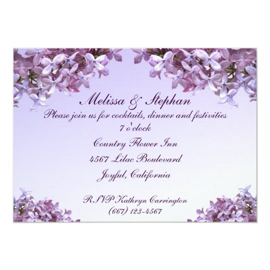 Floral Lilac Flowers Wedding Reception Card