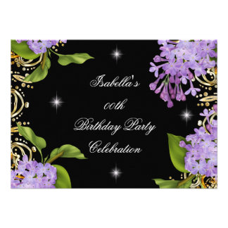 Floral Lilac Gold Black Elite Women s Birthday Custom Invitations