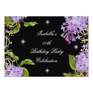"Floral Lilac Gold Black Elite Women's Birthday 4.5"" X 6.25"" Invitation Card"