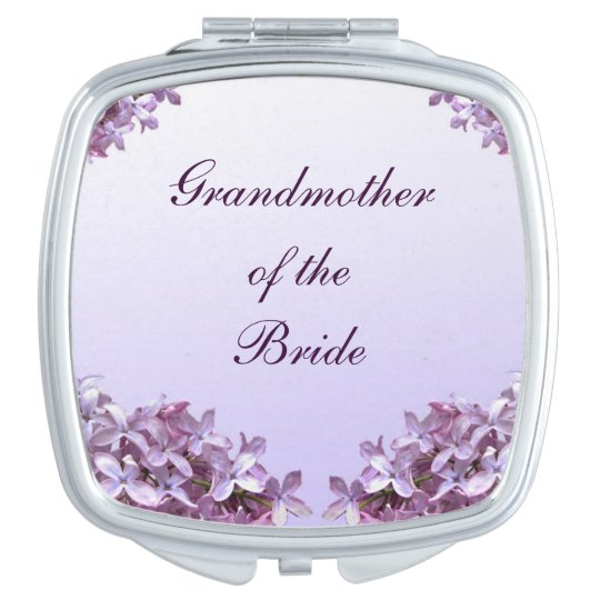 Floral Lilac Wedding Grandmother of Bride Mirror Compact