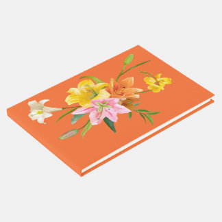 Floral Lilies Flower Orange Wedding Yellow Pink Guest Book