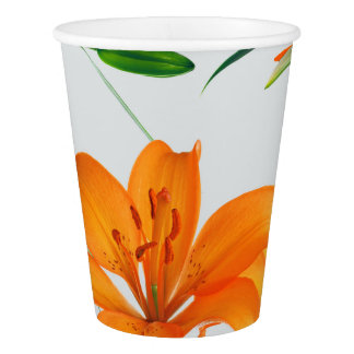 Floral Lilies Paper Cups