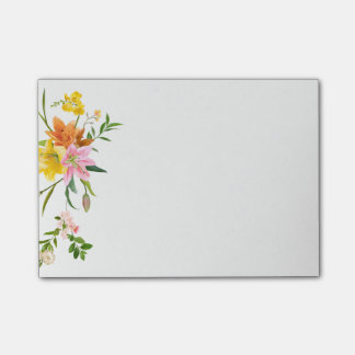 Floral Lily Flowers - Pink, Orange Yellow Post-it Notes
