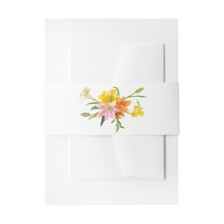 Floral Lily Flowers Pink Orange Yellow Wedding Invitation Belly Band