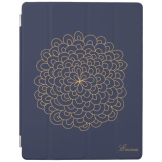 Floral line art Blue and Gold modern iPad cover