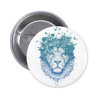 Floral lion 6 cm round badge