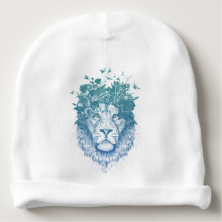 Floral lion baby beanie