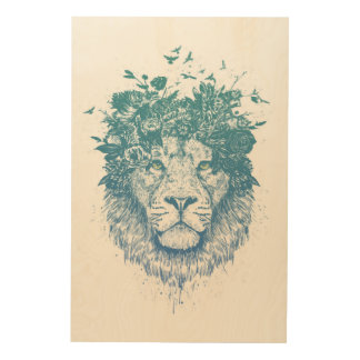 Floral lion wood wall decor