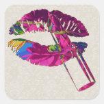 Floral Lips Motif Sticker