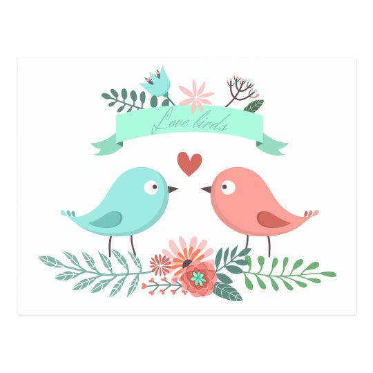 Floral Love Bird Blue And Pink Flower Wedding