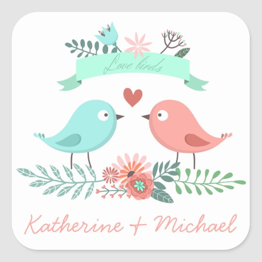 Floral Love Birds Pink & Blue Personalised Wedding
