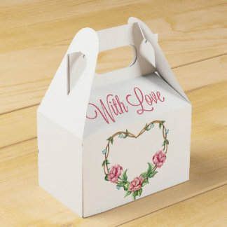 Floral Love Pink Rose Watercolor Flowers Wedding Party Favour Boxes