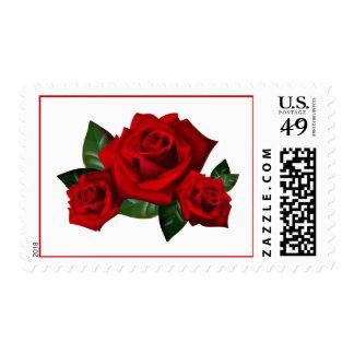 Floral Love Red Rose Flower Postage Stamps