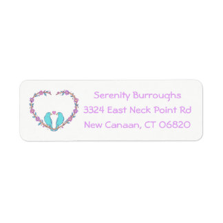Floral Lovebirds & Heart Purple, Turquoise Wedding