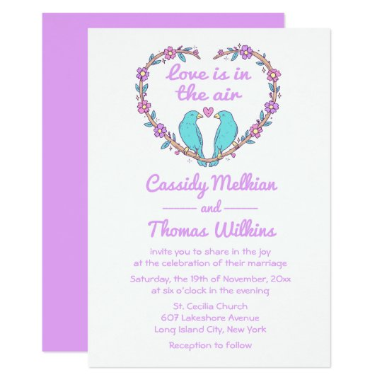 Floral Lovebirds & Heart Purple, Turquoise Wedding Card
