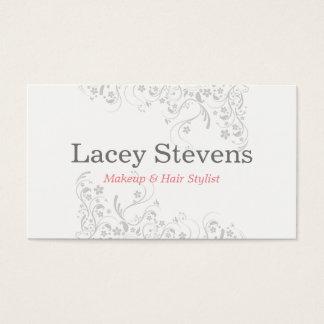 Floral Makeup Artist Hair Stylist Business Card