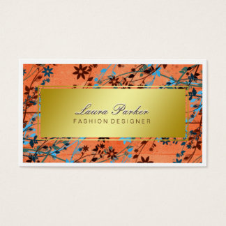 Floral Makeup Artist Hair Stylist Orange gold Business Card