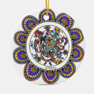 Floral mandal in Madhubani style Christmas Ornament