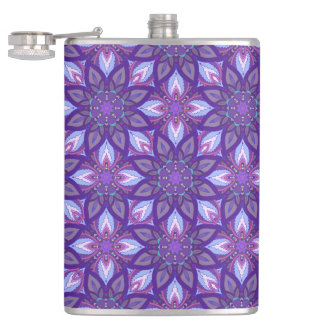 Floral mandala abstract pattern design hip flask
