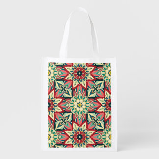 Floral mandala abstract pattern design reusable grocery bag