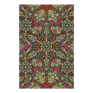 Floral mandala abstract pattern design stationery