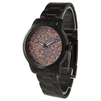 Floral mandala abstract pattern design watch
