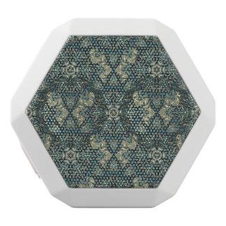 Floral mandala abstract pattern design white bluetooth speaker