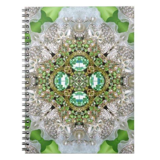 Floral mandala bling emerald green rhinestone notebook